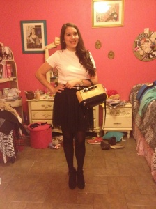 Top: Forever 21 Skirt: LC Lauren Conrad Kohl's Collection Booties: JC Penney Bag: Kate Spade Watch: Fossil